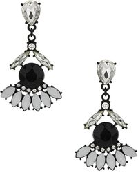 Topshop Womens Navette Stone Drop Earrings - Black - Lyst