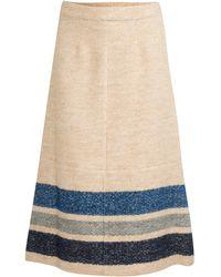 Sea Stripe Long Zip Skirt beige - Lyst