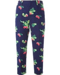 MUVEIL Cropped Strawberry Print Trousers - Lyst