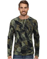 Lacoste Camouflage Printed Waffle Henley T-shirt - Lyst