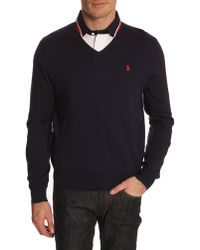 Polo Ralph Lauren Navy V-Neck Sweater - Lyst