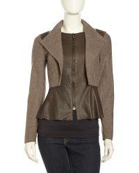 Sachin & Babi Peplum Leather Wool Jacket - Lyst