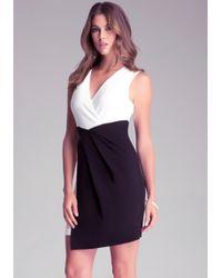 Bebe Contrast Wrap Dress - Lyst