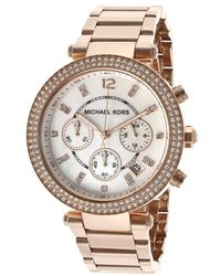 Michael Kors Womens Chronograph White Mop Dial Rose Gold Tone Ip Ss - Lyst