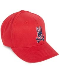 Psycho Bunny - Red Embroidered Cotton Cap - Lyst