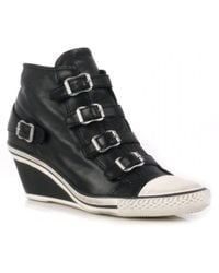 Ash Genial Leather Mid Wedge Trainers - Lyst