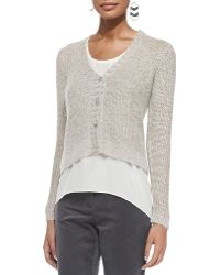 Eileen Fisher V-neck Metallic Sheen Short Cardigan - Lyst