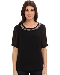 Adrianna Papell Short Sleeve Washed Crepe Blouse With Embellished Collar - Lyst