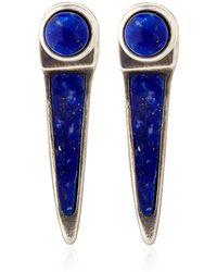 Pamela Love Silver Lapis Inlay Horn Earrings - Lyst