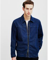 ADPT - Edgar Denim Jacket With Zip Blue - Lyst