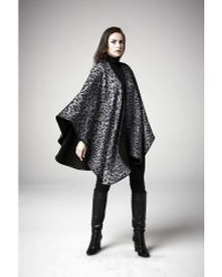 Sofia Cashmere Pure Cashmere Printed Reversible Wrap Cape Trimmed With Leather gray - Lyst