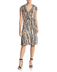 BCBGMAXAZRIA Abstract Print Jersey Wrap Dress - Lyst