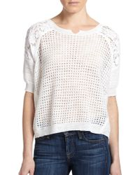 Rebecca Taylor Knit Patchwork Top white - Lyst