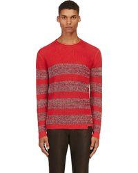 Diesel Red Linen Striped K_gargi Sweater - Lyst
