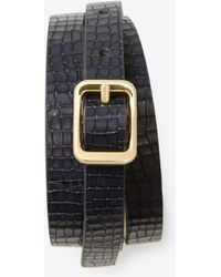 Ann Taylor Exotic Embossed Leather Skinny Belt - Lyst