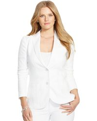 Ralph Lauren Linen Two-Button Jacket white - Lyst