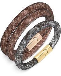 Swarovski Rose Gold-tone Stardust Jet Bracelet Set - Lyst