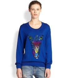 Markus Lupfer Joey Sequined Zebra Cotton Sweater - Lyst