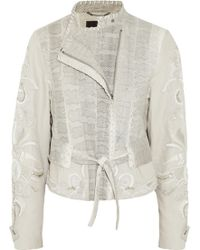 Roberto Cavalli Watersnake And Embroidered Linen-Blend Jacket - Lyst