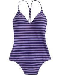 J.Crew Striped One-Piece Swimsuit purple - Lyst