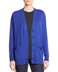 Marc By Marc Jacobs Wool Colorblock Cardigan purple - Lyst