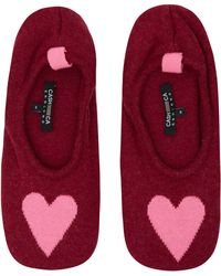 CASH CA - Burgundy Love Heart Cashmere Slippers - Lyst