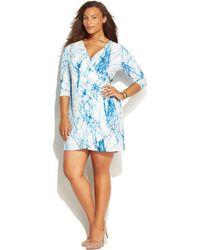 Calvin Klein Plus Size Printed Faux-Wrap Dress - Lyst