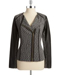 Calvin Klein Faux Leather Accented Moto Jacket - Lyst