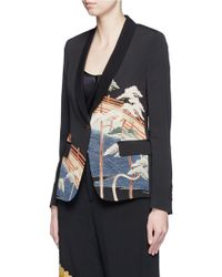 Ibrigu - One Of A Kind Traditional Scenery Print Silk Blazer - Lyst