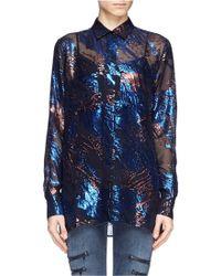 Maje Gel Metallic Jacquard Sheer Shirt - Lyst