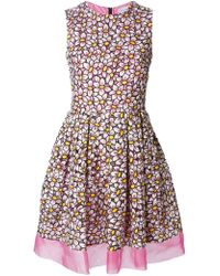 RED Valentino Daisy Embroidered Pleated Dress - Lyst