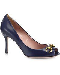 Gucci Jolene Leather Peep-Toe Pumps - Lyst