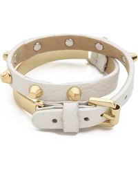 Jules Smith Stud Bar Leather Wrap Bracelet White - Lyst