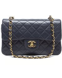 Chanel Pre-Owned Navy Lambskin Small Double Flap Bag - Lyst