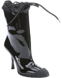 Miu Miu Black Patent Leather Pointed Toe Midcalf Rain Boots - Lyst