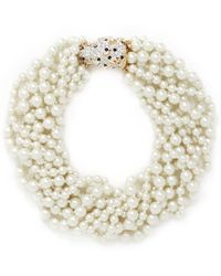 Kenneth Jay Lane Crystal Pavé Cheetah Clasp Faux Pearl Necklace - Lyst