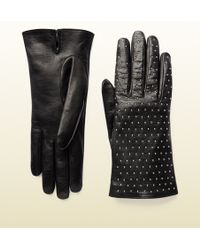 Gucci Studded Leather Gloves - Lyst