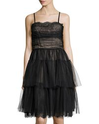 RED Valentino Tiered Lace  Tulle Cocktail Dress - Lyst