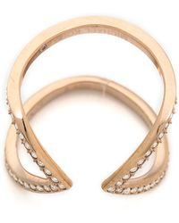 Michael Kors Open Delicate Arrow Ring Rose Goldclear - Lyst