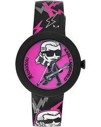 Karl Lagerfeld Black Fuchsia Karl Logo Print Watch - Lyst