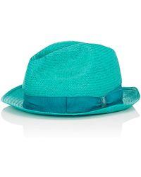 Borsalino - Men's Woven Trilby Hat-green Size 7 - Lyst