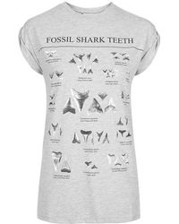 Topshop Fossil Shark Teeth Tee By Tee And Cake - Lyst