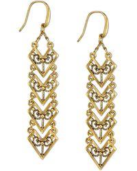 Tru. - Gold-tone Matte Antique Chevron Linear Earrings - Lyst