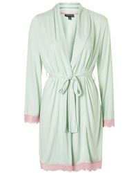Topshop Eyelash Lace Trim Robe green - Lyst