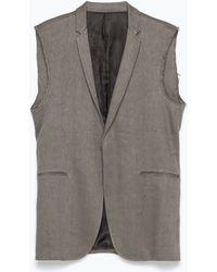 Zara Grey Waistcoat gray - Lyst