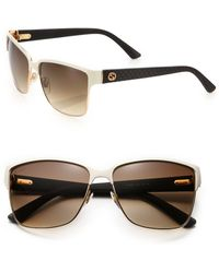 Gucci Oversized 60Mm Square Sunglasses white - Lyst