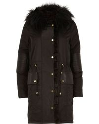 River Island Black Faux Fur Trim Leather-look Parka Jacket - Lyst