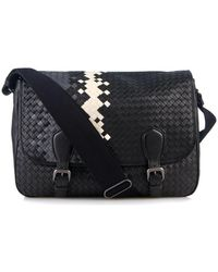 Bottega Veneta Tri-Colour Intrecciato Leather Messenger Bag - Lyst