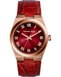 Michael Kors Womens Channing Red Crocembossed Leather Strap Watch 38mm - Lyst