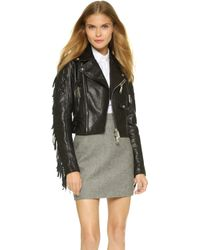 DSquared² Cropped Leather Jacket - Black - Lyst